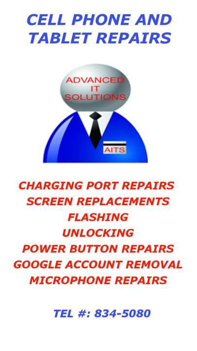 We repair or replace:Charging portsBroken screensCarrier locked phonesBoot looping and virusesPower and volume buttonsGo...